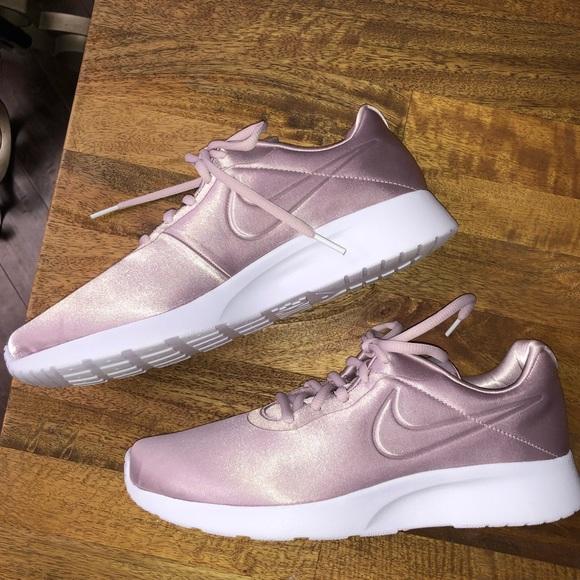 Nike Shoes | Womens Tanjun Premium Satin Pale Pink | Poshmark